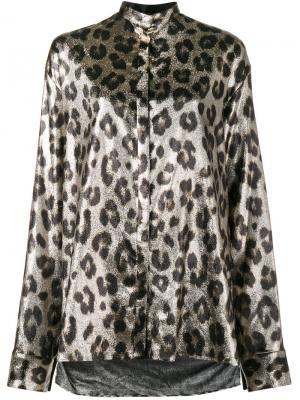 Блуза с леопардовым узором и металлическим отблеском Haider Ackermann. Цвет: металлический