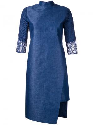 Mandarin neck asymmetric dress Taro Horiuchi. Цвет: синий