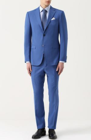 Шерстяной костюм с пиджаком на двух пуговицах Z Zegna. Цвет: голубой