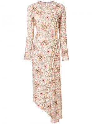 Асимметричное платье с принтом Vilshenko. Цвет: телесный