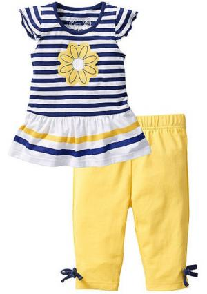 Комплект: кофточка + легинсы-капри. Цвет: белый в полоску+желтый