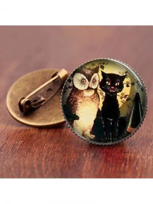 Брошь Сова и кот Honey Jewelry. Цвет: бронзовый