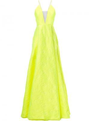 Парчовое вечернее платье Fluoro Alex Perry. Цвет: жёлтый и оранжевый