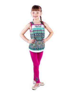 Комплект одежды Апрель. Цвет: бирюзовый, малиновый, белый