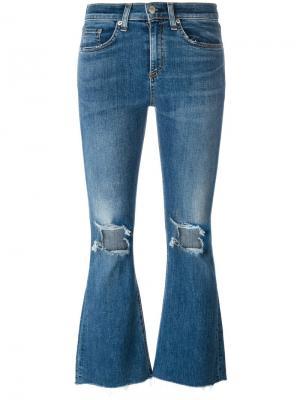 Укороченные расклешенные брюки Rag & Bone /Jean. Цвет: синий