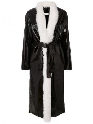 Пальто с лисьим мехом Attico. Цвет: коричневый
