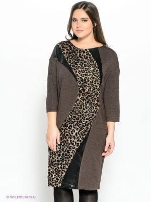 Платье Amelia Lux. Цвет: коричневый, бежевый