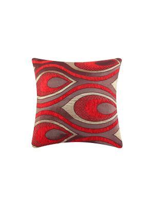 Подушка декоративная Перо павлина на красном EL CASA. Цвет: красный, светло-коричневый