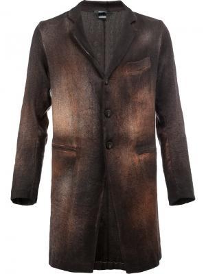 Пальто с выгоревшим эффектом Avant Toi. Цвет: коричневый
