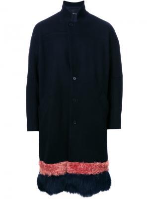 Пальто с меховой отделкой Yoshio Kubo. Цвет: синий