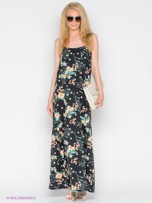 Платье Vero moda. Цвет: темно-зеленый, бледно-розовый, желтый