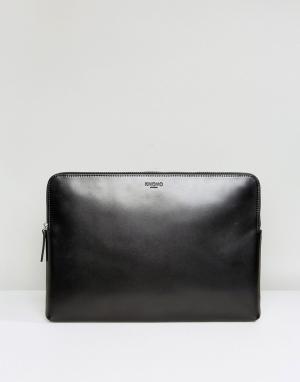 Knomo Тисненый кожаный чехол для ноутбука с диагональю 15 дюймов. Цвет: черный