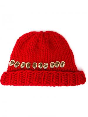 Knitted Skull Beanie Hat Wool And The Gang. Цвет: красный