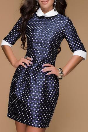 Платье 1001dress. Цвет: темно-синий, принт