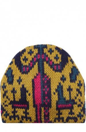 Вязаная шапка с узором Tak.Ori. Цвет: желтый