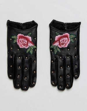 ALDO Кожаные перчатки с вышивкой. Цвет: черный