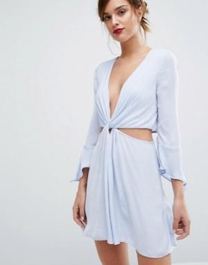 Bec & Bridge Голубое платье мини Blue Haze. Цвет: темно-синий