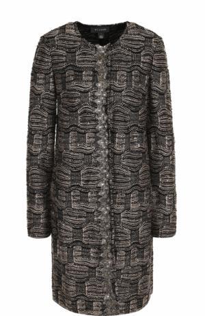 Буклированное пальто прямого кроя с круглым вырезом St. John. Цвет: черный