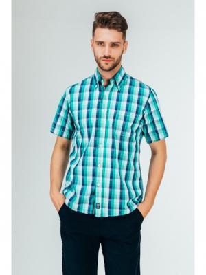 Рубашка Westrenger. Цвет: синий, бирюзовый, зеленый