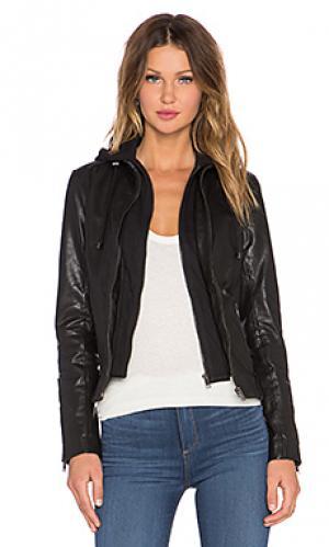 Кожаная куртка с капюшоном arlette LaMarque. Цвет: черный