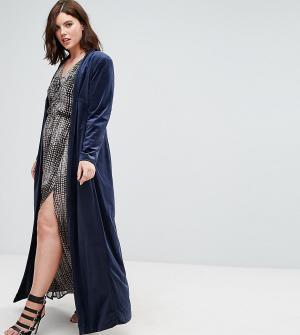Elvi Темно-синее бархатное пальто. Цвет: темно-синий