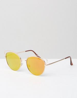 Jeepers Peepers Зеркальные солнцезащитные очки в круглой кошачьей оправе Peepe. Цвет: золотой