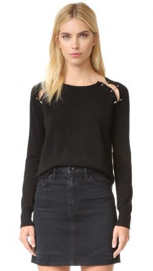 Пуловер с отделкой зажимами The Kooples. Цвет: голубой