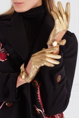 Кожаные перчатки Gucci. Цвет: золотой