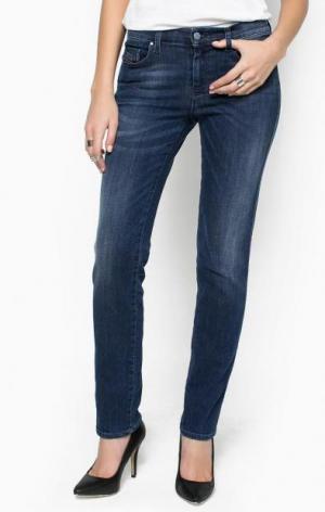 Зауженные джинсы с заломами Diesel. Цвет: синий