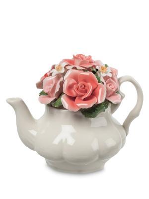 Статуэтка Чайник с цветами Pavone. Цвет: белый, розовый