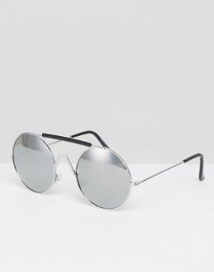 7X Черные солнцезащитные очки в стиле ретро. Цвет: серебряный