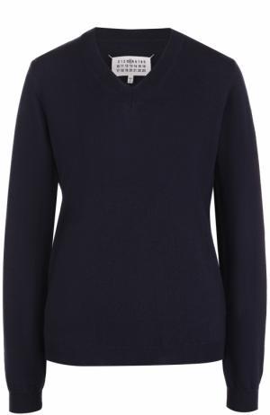 Шерстяной пуловер с V-образным вырезом Maison Margiela. Цвет: темно-синий