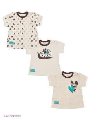 Комплект - футболки, 3 шт. Lucky Child. Цвет: молочный, коричневый