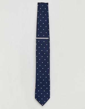 Burton Menswear Темно-синий галстук в горошек с зажимом. Цвет: темно-синий