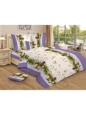 Комплект постельного белья Amore Mio  Iris 1,5 сп. Цвет: зеленый,сиреневый