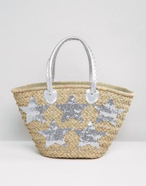 Pia Rossini Большая пляжная сумка серебристого цвета. Цвет: серебряный