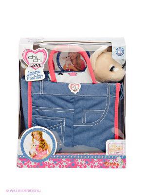 Собачка Чихуахуа в джинсовой сумочке Chi Love. Цвет: синий, светло-бежевый