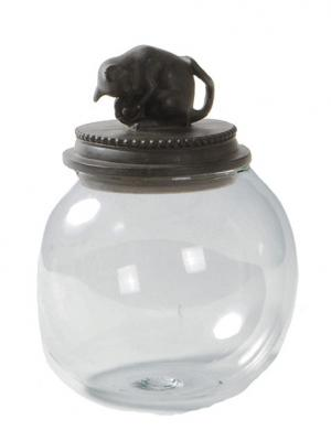Емкость стеклянная Кот DECO 14,5*14,5*17,5 см Happy House. Цвет: темно-коричневый