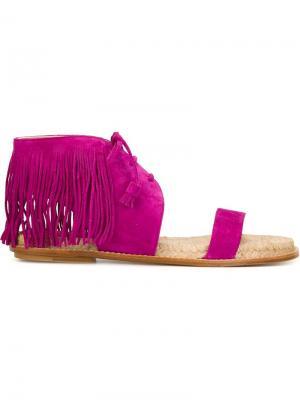 Сандалии с бахромой Paul Andrew. Цвет: розовый и фиолетовый