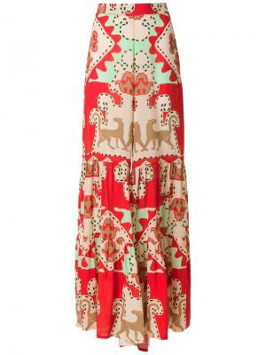 Printed wide trousers Adriana Degreas. Цвет: красный