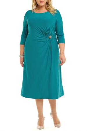 Платье, брошь Svesta. Цвет: бирюзовый