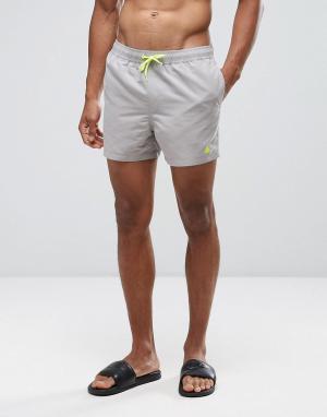 ASOS Короткие шорты для плавания песочного цвета с неоново-желтым треугольн. Цвет: бежевый