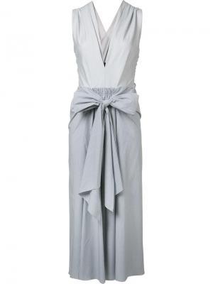 Платье Thin Stripe Bow Front Tome. Цвет: белый