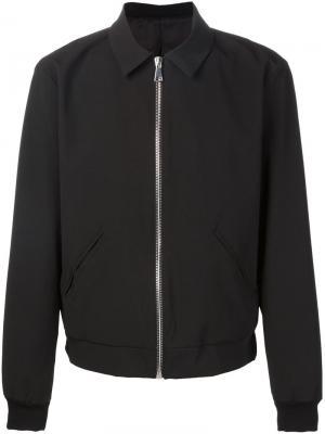 Куртка-бомбер с косым воротником Second/Layer. Цвет: чёрный