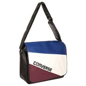 Сумка через плечо  An Flap Messenger Tricolor Black/White/Blue/Burgundy Converse. Цвет: черный,белый,синий,бордовый