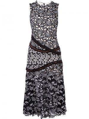 Жаккардовое платье с цветочным узором Self-Portrait. Цвет: чёрный