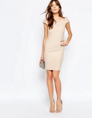 Lipstick Boutique Бандажное платье в рубчик Avie. Цвет: золотой