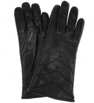 Кожаные перчатки с меховой подкладкой Bartoc. Цвет: черный