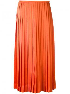 Плиссированная юбка-миди Fendi. Цвет: жёлтый и оранжевый