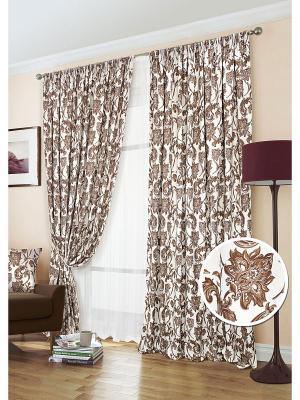 Комплект штор, Ramo-S Kauffort. Цвет: коричневый, белый